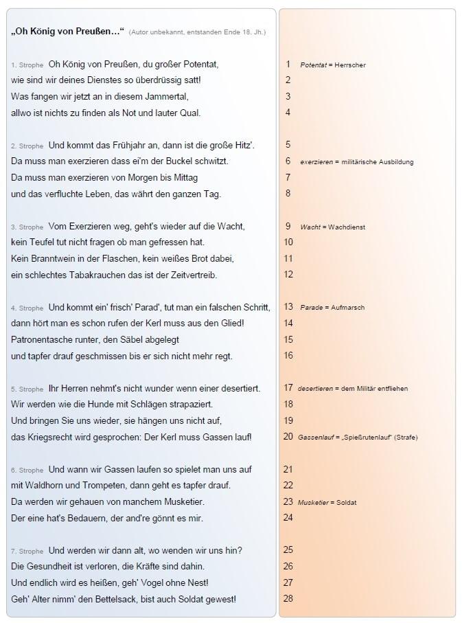Oh König von Preußen... | Ein Lied analysieren | segu Geschichte