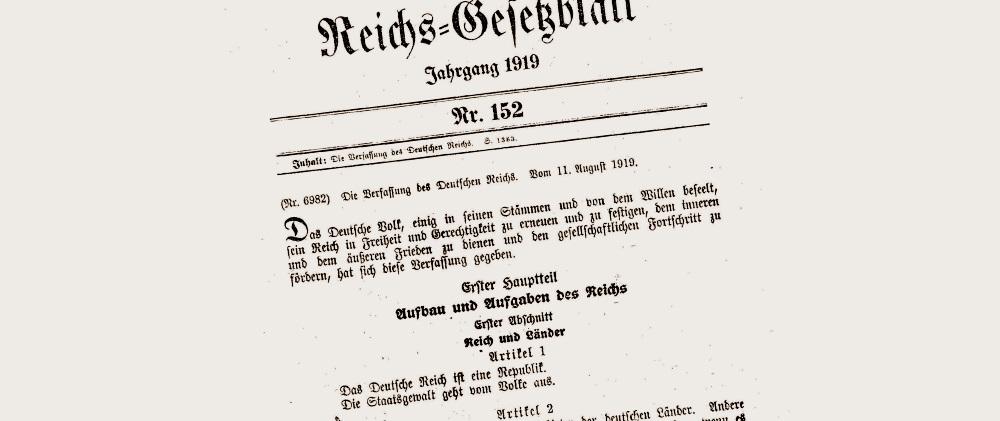 Die Verfassung der Weimarer Republik | segu Geschichte