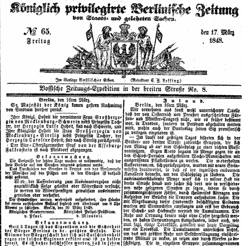 Märzrevolution in Berlin   Quellen   segu   Lernplattform für ...