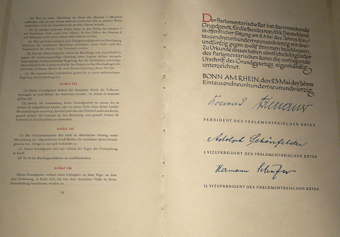 Das Grundgesetz der Bundesrepublik Deutschland | segu Geschichte